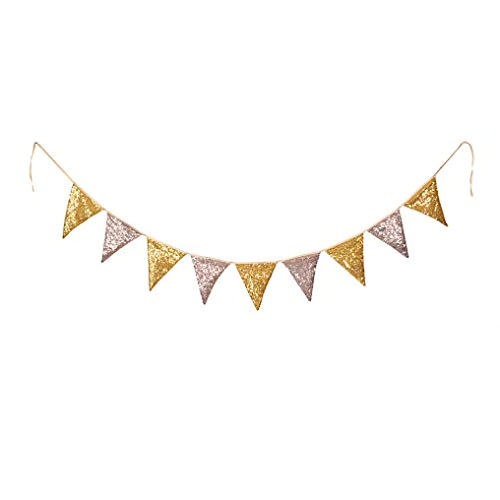 PartyDelight Rose Gold and Gold Sequin Bunting, Multicolor Fabric Triangle Flag Bunting for Party,Wedding Sequin Bunting/Garland, Outdoor Bunting Flag(9 Flags in one Bunting, 2 Packs)