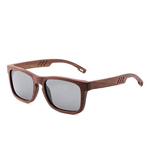 Lbyhning Holzsonnenbrille, Herren-Vintage-Sport-Outdoorbrille, ultraleichter Rahmen, 100% UV-Schutz, geeignet für UV400-Augenschutz