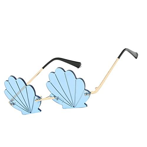 oshhni Gafas de Sol Bonitas de Moda con Forma de Concha sin Montura Estilo Mod para Mujer, Regalo, Playa, Fiesta, Exterior UV400 - Azul