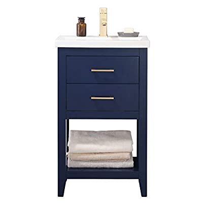 """LUCA Kitchen & Bath LC20FBP Dublin 20"""" Bathroom Vanity Set in Midnight Blue with Integrated Porcelain Top"""