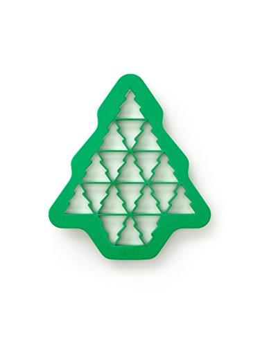 Lékué Keks-Puzzle Tannenbaum für 19 Stück, Silikon, grün, 27 x 23.5 x 1.5 cm