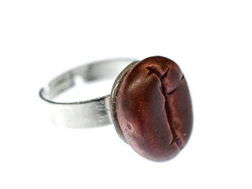 Miniblings Kaffeebohne Kaffee Bohne Ring - Kaffeebohne Kaffee Bohne - Handmade Modeschmuck I Fingerring mit Motiv I verstellbar one Size