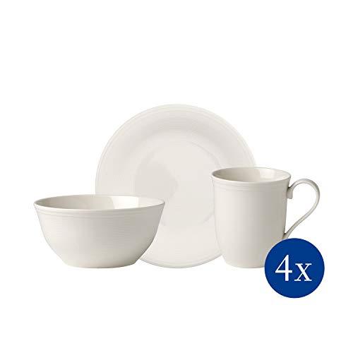 like. by Villeroy & Boch - Colour Loop Natural Frühstücks-Set, 12 tlg., für 4 Personen, Premium Porzellan, spülmaschinen-, mikrowellengeeignet, grau/weiß