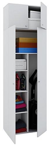 VCM Schrank Kleiderschrank Mehrzweckschrank Putzschrank Universal Staubsauger Holz weiß 218x70x40 cm