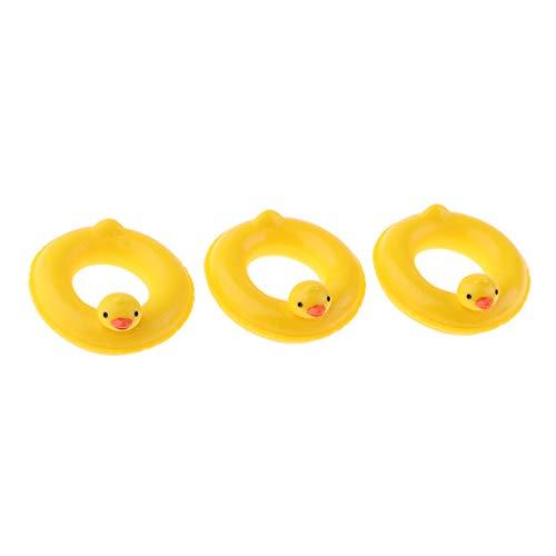 Toygogo 3 Stücke 1:12 Gelbe Ente Design Schwimmringe Schwimmen Runden Puppenhaus Fee Garten Zubehör
