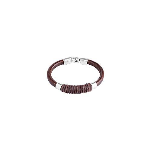 Uno DE pulsera para hombre 50, CAMISA FUERZ PUL0610MRH DE piel y chapado en plata