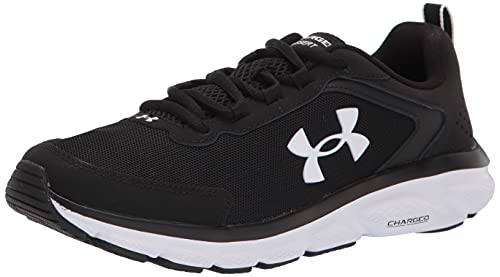 Under Armour womens Charged Assert 9 Running Shoe, Black/White, 8.5 US