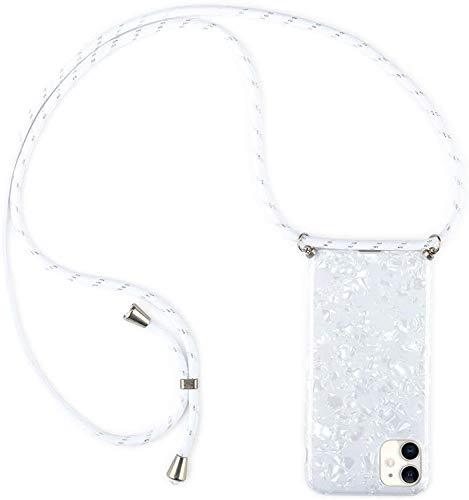 Handykette für iPhone 11 Pro(5.8 Zoll) Hülle mit Kordel zum Umhängen Necklace Hülle Muschel Case für iPhone 11 Pro Silikon Handyhülle mit Schnur, Schutzhülle mit Band Weiß