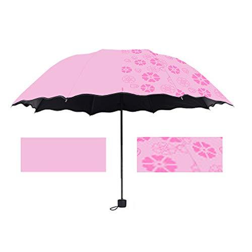 Portable Umbrella Magic Flower Dome Garden Courtyard 3-Gevouwen 8 Bones Zwart Rubber Doek Sunscreen Outdoor Folding Paraplu,Pink
