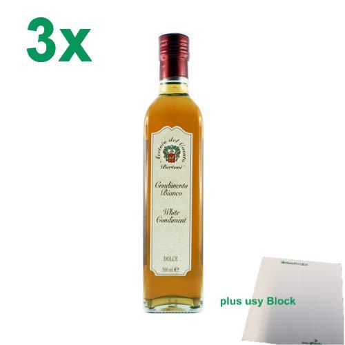 "Bertoni Condimento Bianco Dolce ""Weißweinessig Süß"" 3er Pack (3x500ml) + usy Block"