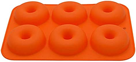 CHAOLUAN 6-Cavity Donut Mould,Biscuit Mould, Non-Stick Food-Safe Silicone Baking Tray Maker Pan Heat Resistance, for Cake Biscuit Bagels (Orange)