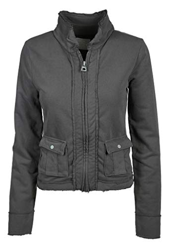 Better Rich Damen Sweatjacke mit gefransten Kanten Jacket Coco Größe XXL Grau (grau)