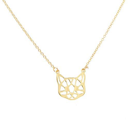 Peculiaro Collar Gato Oro, Joya de Origami & Collar geométrico Oro Mujer, bañado en Oro, Joyería para niñas y Mujeres, perteneciente a la colección Geometric Nature