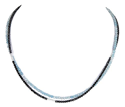 Spinell - Aquamarin doppelreihige Kette Collier