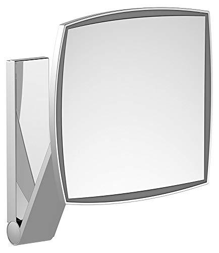 KEUCO Wand-Kosmetikspiegel mit Schwenkarm, LED-Beleuchtung, 5-facher Vergrößerung, Unterputz-Netzteil, 20x20cm, eckig, chrom, iLook_move