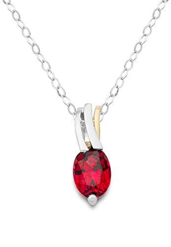 Miore Damen Halskette 9 Karat (375) Bicolor Rubin rot