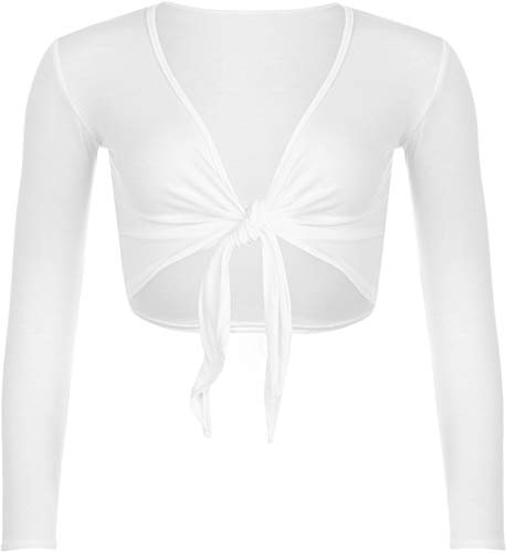 STAR FASHION Women Long Sleeves Shrugs Tie Up Open Front Top Ladies Summer Crop Bolero Cardigan Dress White 12-14