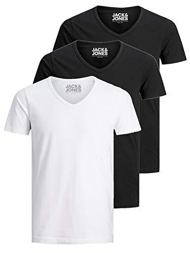 Jack and Jones Herren T-Shirt Basic V-Ausschnitt 3er Pack Einfarbig Slim Fit in Weiß Schwarz Blau Grau (Farb Mix 5, L)