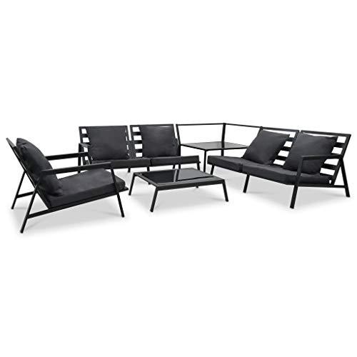 pedkit Muebles de Jardín Conjunto de Sofás 5 pzas y Cojines de Aluminio Gris Oscuro