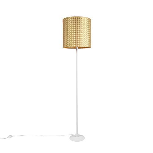 QAZQA Moderno Lámpara de pie blanco pantalla triángulos oro/oro 40cm - SIMPLO Textil/Acero Alargada Adecuado para LED Max. 1 x 60 Watt