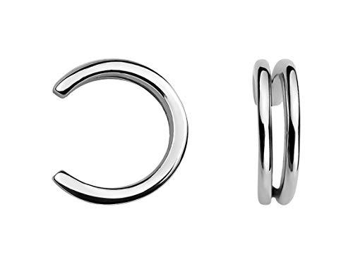 SOFIA MILANI Damen 2er Set Fake Piercing Manschette Ohr Silber 20633