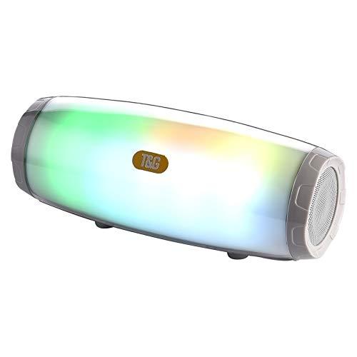Banaz 5W*2 Portable Wireless Speaker Speaker With Dancing LED Flashing Light Mp3 AUX USB FM Radio Stereo Subwoofer(Black) (Color : Grey)