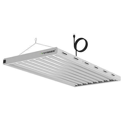VIVOSUN 6500K 4FT T5 HO Fluorescent Grow Light Fixture for Indoor Plants, UL Listed High Output Fluorescent Tubes, 8 Lamps (White)