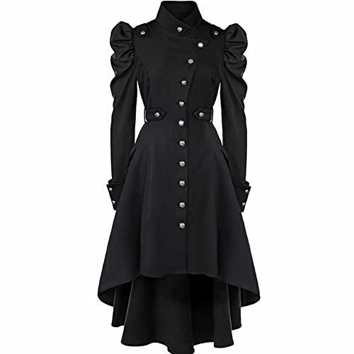 JRPS Ladies Slim Swallowtail Long Trench Coat, Chaqueta De Esmoquin De Mujer Gtica Steampunk, Vintage Victorian Tuxedo De Tuxedo Chaquete (Negro)(Size:XX-Grande,Color:A)