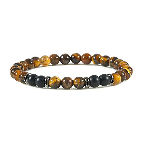 Pulsera de hombrehecha a mano con hilo clásico de piedra natural, pulseras de cuentas de 6mm para mujer, joyería de Yoga, regalo-mate-ojo de tigre_China