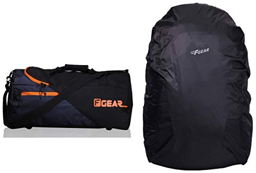 F Gear Explory Polyester 2362Cms Orange Softsided Travel Duffle & F Gear Repel Rain & Dust Cover for Laptop Bags and Backpacks