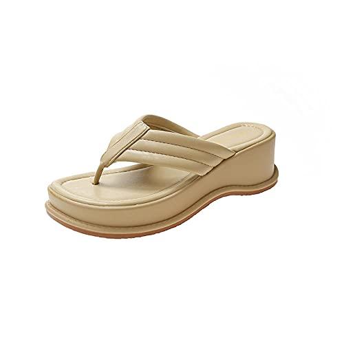 LLRR Piscina Zapatillas Suave,Summer New Ladies Sandwich, descuidado, Pendiente, Sandalias de Playa de Fondo Grueso-Yellow_35,Sandalias Mujer Verano Planas Piel
