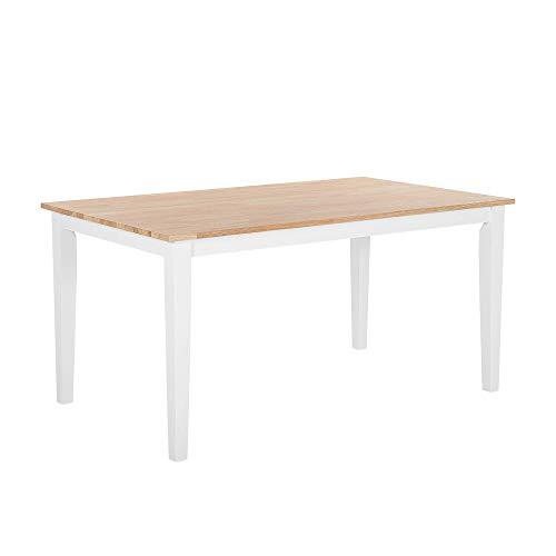 Tavolo da Pranzo Legno di Gomma Marrone Chiaro Gambe Bianche 90 x 150 cm Georgia