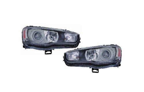 Replacement For Mitsubishi Lancer Evolution 09-11 Projector Jdm Black Halogen Headlight Lamp Set