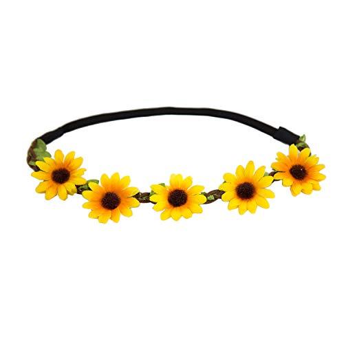 Oblique-Unique® Blumen Haarband Stirnband Blumenkranz Haarschmuck Kopfschmuck Bohemia Style Mädchen Damen - Farbe Wählbar (Gelb)