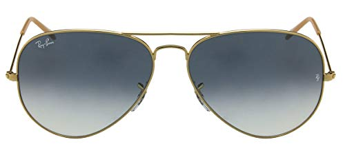 Ray-Ban RB3025, Gafas de Sol Unisex Adulto, Dorado (frame: Gold, lenses: Light blue gradient, gradient 001/3F), X-Large