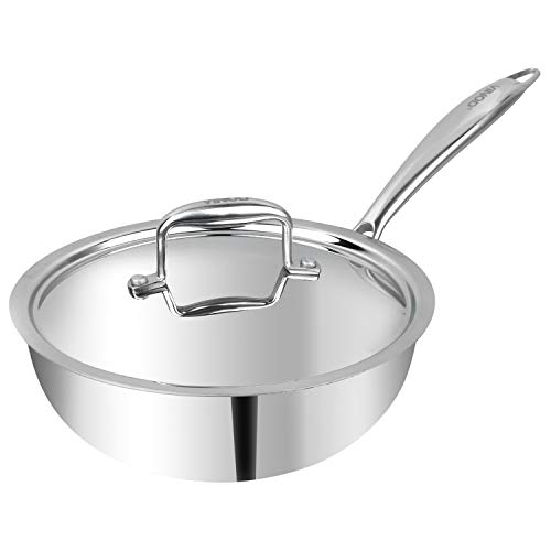 Vinod Platinum Triply Stainless Steel Deep Frypan with Lid- 20 cm (Induction Friendly)- Silver