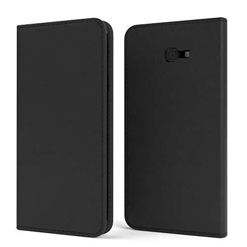 EAZY CASE Tasche kompatibel mit Samsung Galaxy J4 Plus Vintage Schutzhülle mit Standfunktion Klapphülle Bookstyle, Handytasche Handyhülle mit Magnetverschluss & Kartenfach, Kunstleder, Schwarz