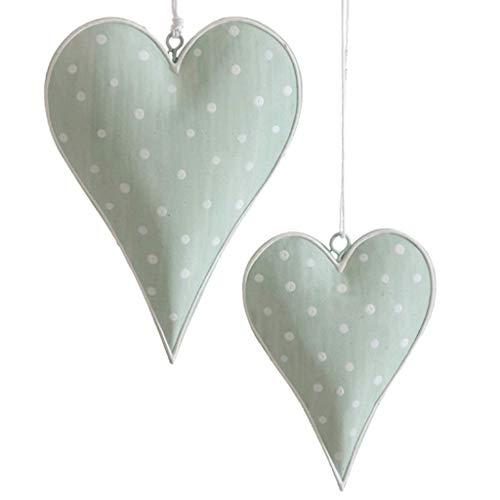 Metallherzen Herzen zum Aufhängen - Herzanhänger aus Metall - Dekoherzen - Dekoration - Vintage - Shabby Chic - 1 VE = 2 Stück - ca.9.5 x 13 cm - Grün mit weißen Punkten - AD68373