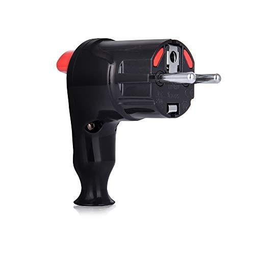 Schuko Stecker 230V - Winkelstecker mit Knopf zum Herausnehmen - Schukostecker 16A - Kabelstecker 220V - Schutzkontaktstecker - Stromstecker mit Doppeltem Schutzkontakt IP20 von Tinen - Schwarz