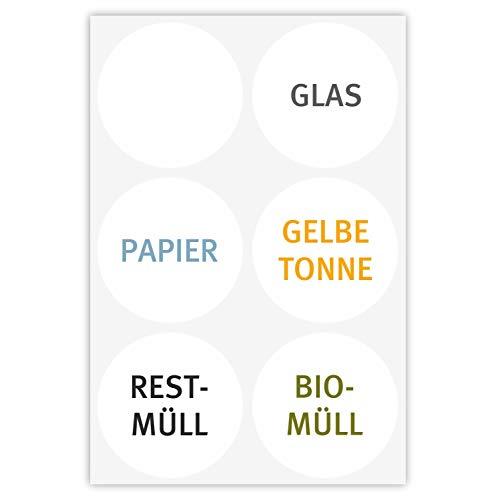 younikat 6 dezente Mülleimer-Aufkleber zur Mülltrennung I Sticker-Set rund für Alt-Glas Papier gelbe Tonne Restmüll Biomüll und blanko Etikett I hin_308