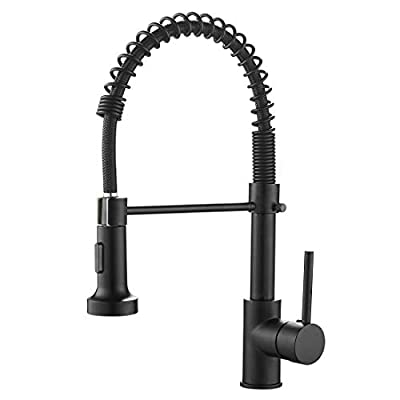 Kitchen Faucets Commercial Solid Brass Single Handle Single Lever Pull Down Sprayer Spring Kitchen Sink Faucet, Matte Black OWOFAN