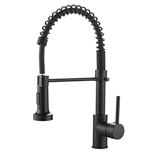 OWOFAN Kitchen Faucets Commercial Solid Brass Single Handle Single Lever Pull Down Sprayer Spring Kitchen Sink Faucet, Matte Black 9009R New Mexico