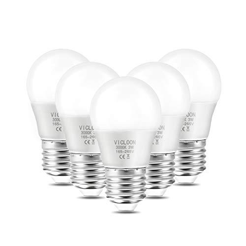 Vicloon Ampoule LED E27,5Pack G45 E27 LED Ampoule,3W Équivalent Ampoule Incandescente 25W,LED E27 Base Blanc Chaud 3000K,165-265V 3W,280LM,Angle de Diffusion 180°,Non Dimmable