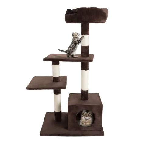 "4 Level Plush Cat Tower with Sisal Scratching Posts, Perch Platforms and Penthouse Condo, 43"" H. Best choice for your pets. Kitty posts. Cat's stands. Best Cat Bed & Trees & Condos. Pet's playground."