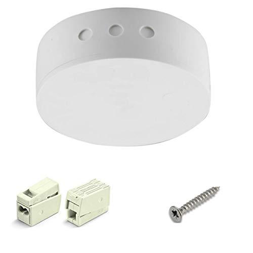 Verteilerdose Weiß Kunststoff 2-tlg. mit Zubehör ø 70x31mm Verteilerbaldachin Aufputzdose Anschlussdose mit Anschlussklemmen & Schrauben Set