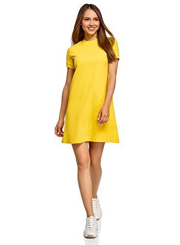 oodji Ultra Damen Lässiges Baumwoll-Kleid, Gelb, DE 34 / EU 36 / XS