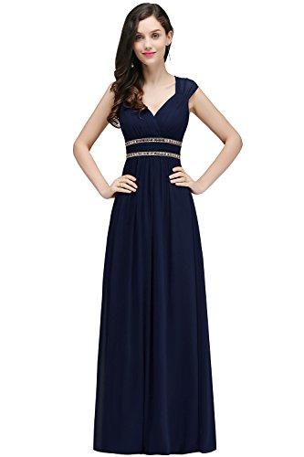 Damen Elegant rmellos Chiffon Abendkleid Maxikleid lang Navy Blau 36