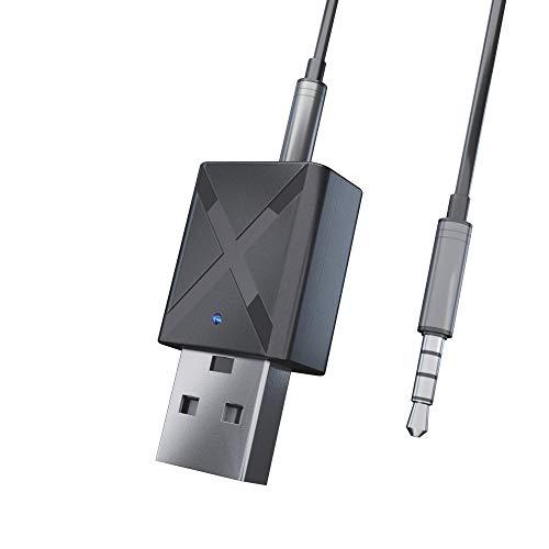 Transmissor e Receptor Bluetooth 5.0 2 em 1 adaptador de áudio estéreo com cabo de áudio de 3,5 mm