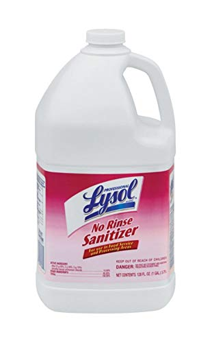 Lysol Professional Concentrated No-Rinse Sanitizer, 1 Gallon, Case of 4 Bottles