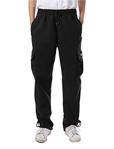JD Apparel Mens Regular Fit Premium Fleece Cargo Pants (L, Black)